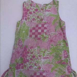 Lilly Pulitzer 4 Classic Shift Dress pink green 4t